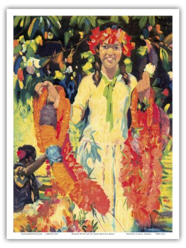 Young Hawaiian Flower Girl With Leis Kelly From an Original Color Painting Print