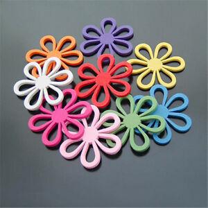 45mm-Mixed-Colors-Simple-Wood-Flowers-Flatback-Cabochons-Craft-Accessories-20pcs