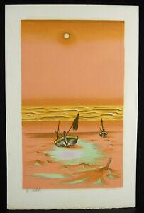 Jean-Martin-Print-Beach-IN-Maree-Low-Boats-Of-Peach-Artist-039-s-Proof-c1980