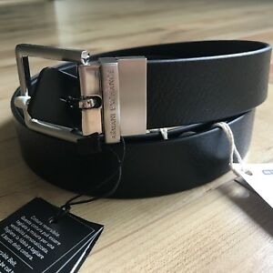 09069bfc A/X Armani Exchange Reversible Perforated Logo Plaque Leather Belt ...