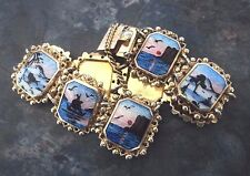 Vintage Norwegian Silver WIDE Scenic Enamel Bracelet - Arne Nordlie  Norway
