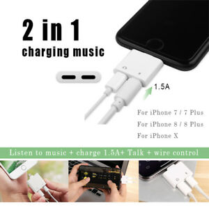 new concept 29b44 9f13d Details about 2 in 1 Earphone Audio Adapter Charger Splitter Converter For  Apple iPhone 8 7 X
