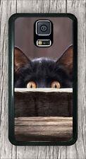 CAT BLACK STARE CASE COVER FOR SAMSUNG GALAXY S5 -dre2Z