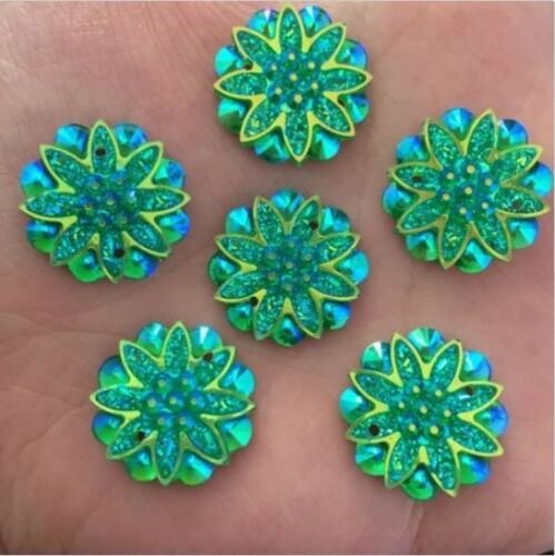 10-50PCS 18mm AB Resin flower Rhinestone Flatback Wedding Buttons 2 hole crafts