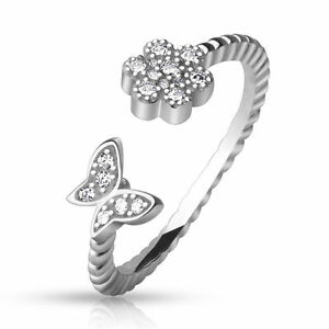 .925 Sterling Silver CZ Paved Flower & Butterfly Adjustable Toe Ring (toe-17L)