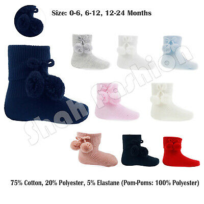 Baby Boys Girls 1 Pair Pom Pom Socks Spanish Style Ankle Length Stretch Socks S10