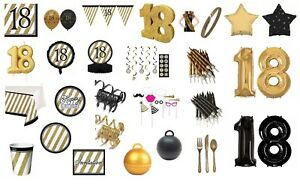 AGE-18-BLACK-amp-GOLD-HAPPY-BIRTHDAY-PARTY-DECORATIONS-18TH-TABLEWARE-cp