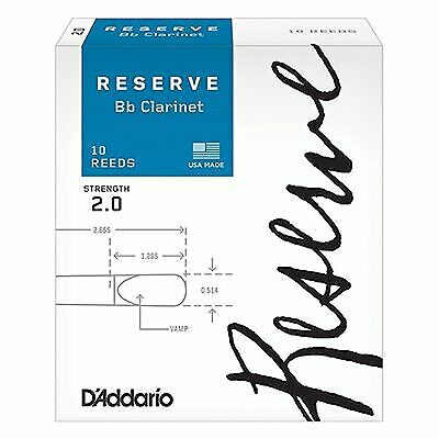 Rico DCR1020 Reserve Bb Clarinet Reeds 2.0 (10 Pack)