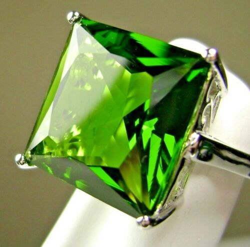 Details about  /Green Peridot Sim 12ct Square Sterling Silver Ring Custom-Made