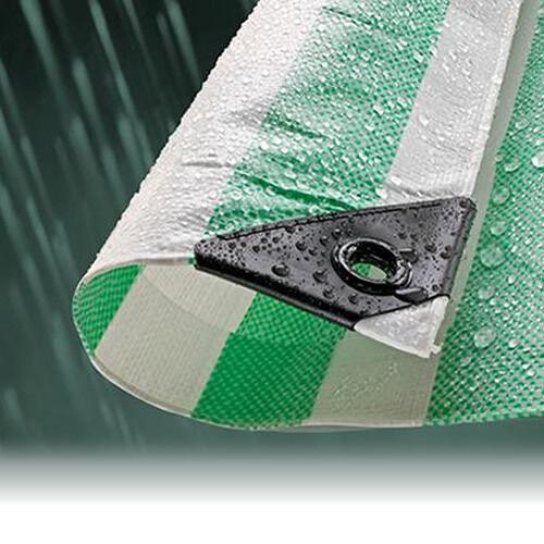 4.5M x 6.0M GREEN STRIPED WATERPROOF TARPAULIN SHEET TARP COVER WITH EYELETS
