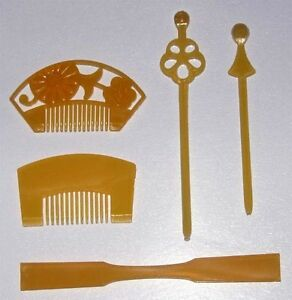 Japanese-Doll-Miniature-KANZASHI-set-C-5-pcs-Comb-Pin