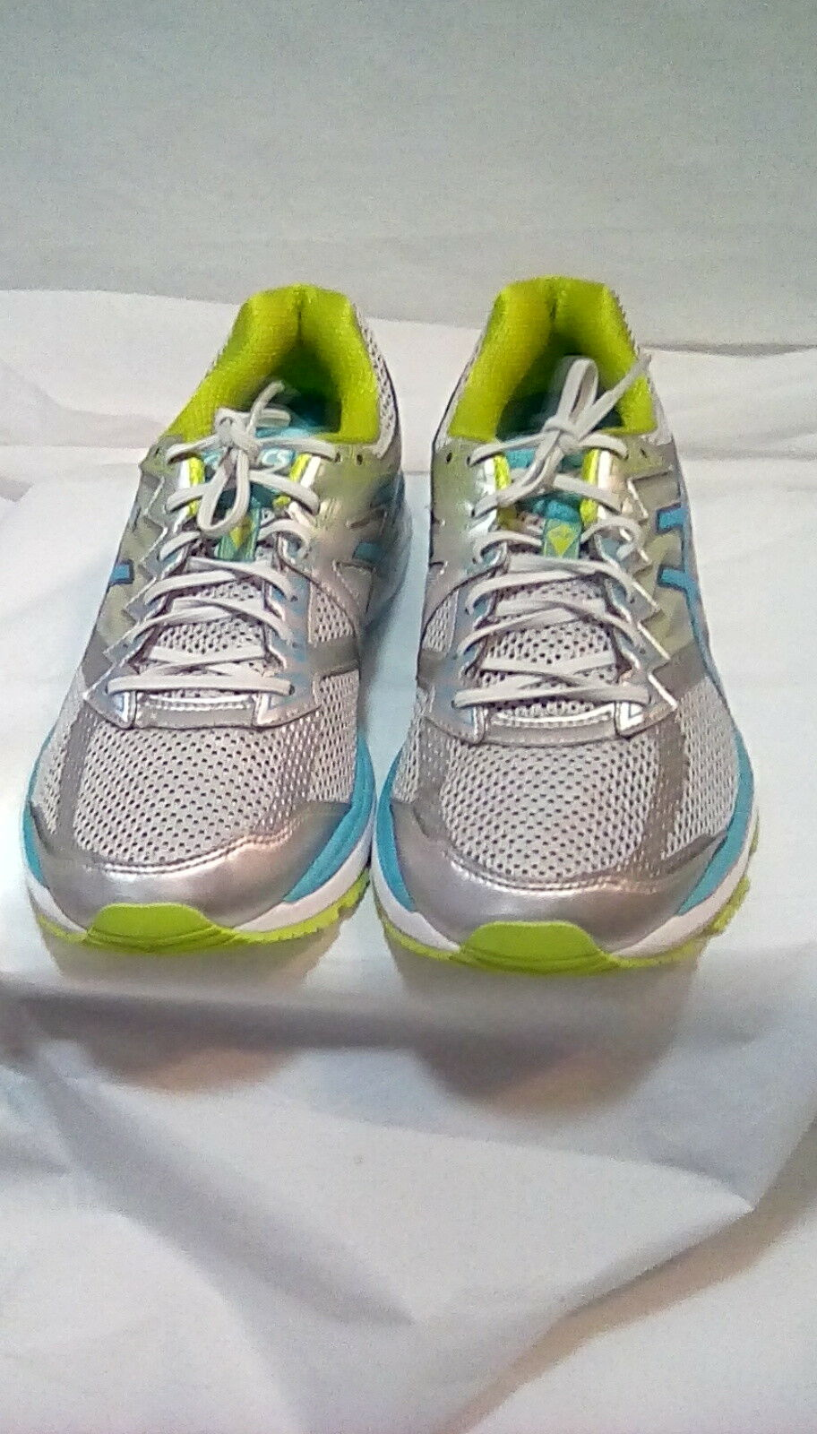 Asics-Women's GT-2000 IGS Fluid Ride Silver Teal Neon Green Running shoes Size 11