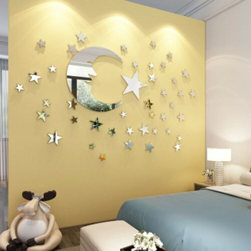 Removable 3D Acrylic Mirror Surface Moon and Stars Wall Sticker Home Decor H HK