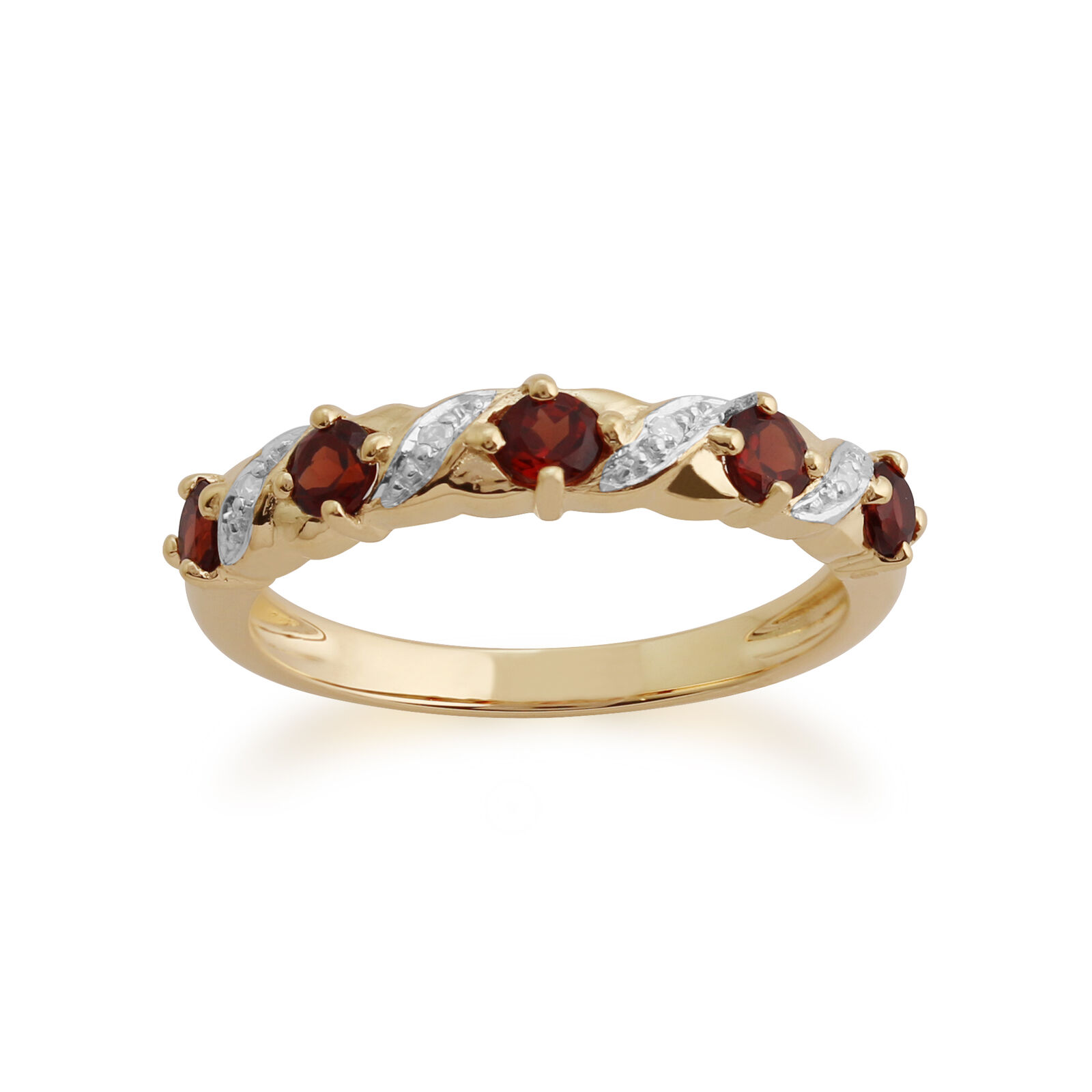 Gemondo 9ct Yellow gold 0.56ct Garnet & Diamond Half Eternity Ring