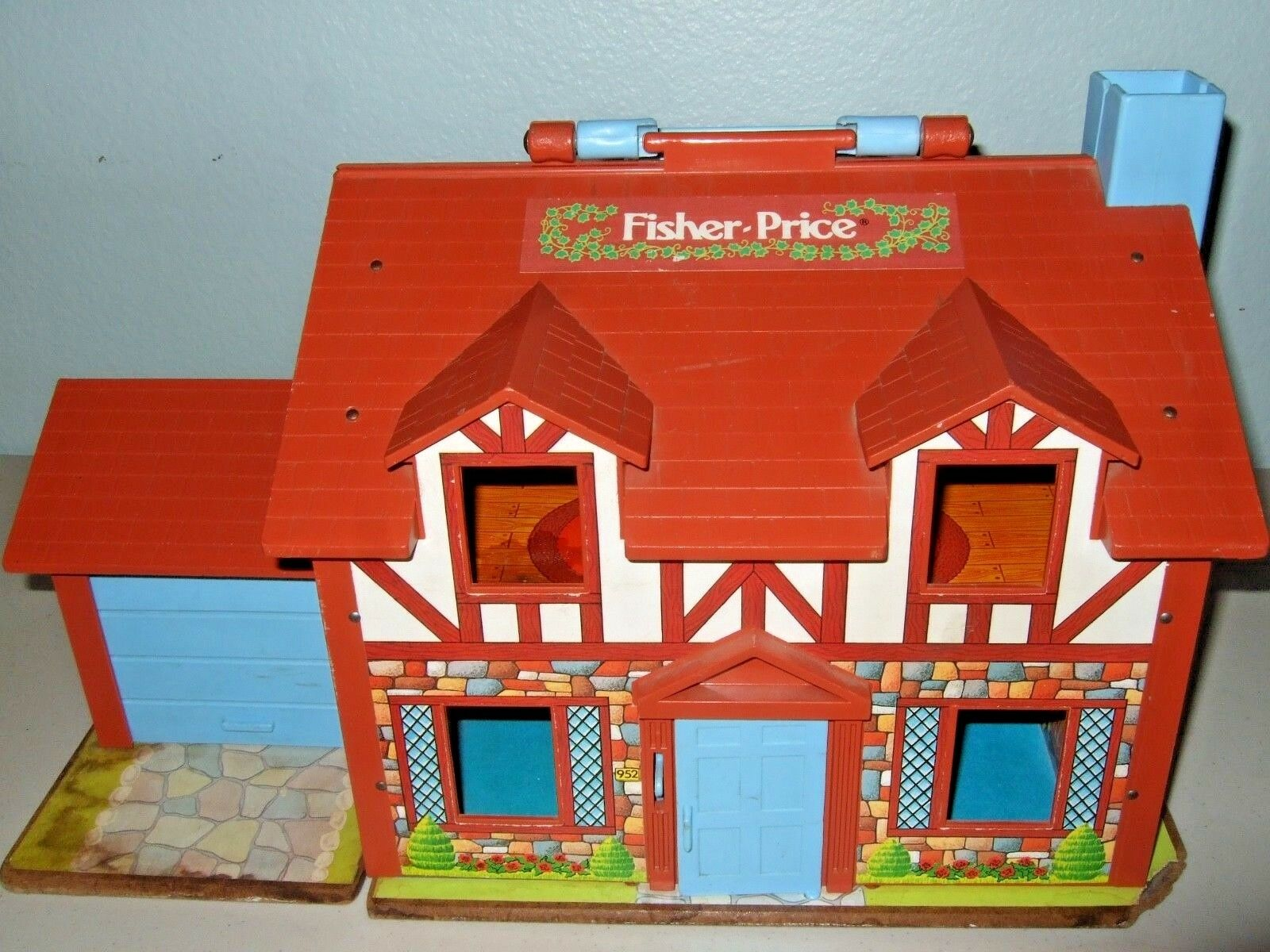 Vintage Fisher Price Brown House Masonite Base Base Base  Extras  VGUC NICE  ad1555