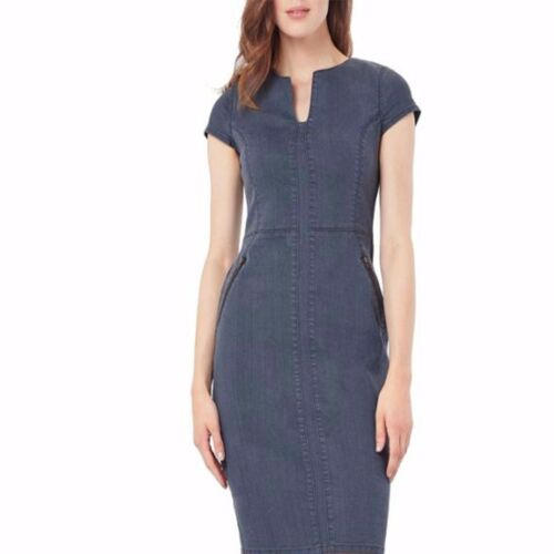 Phase Eight Magda Grey Soft Denim Stretch Office Cocktail Wiggle Dress 16 UK