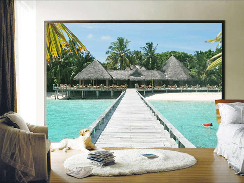 Spacious Loyal Beach 3D Full Wall Mural Photo Wallpaper Printing Home Kids Decor