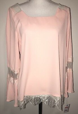NY Collection Women/'s Keyhole Lace-Trim Peasant Top