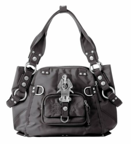 GEORGE GINA /& LUCY Nylon Symbolessa Tasche Umhängetasche Handtasche Grau