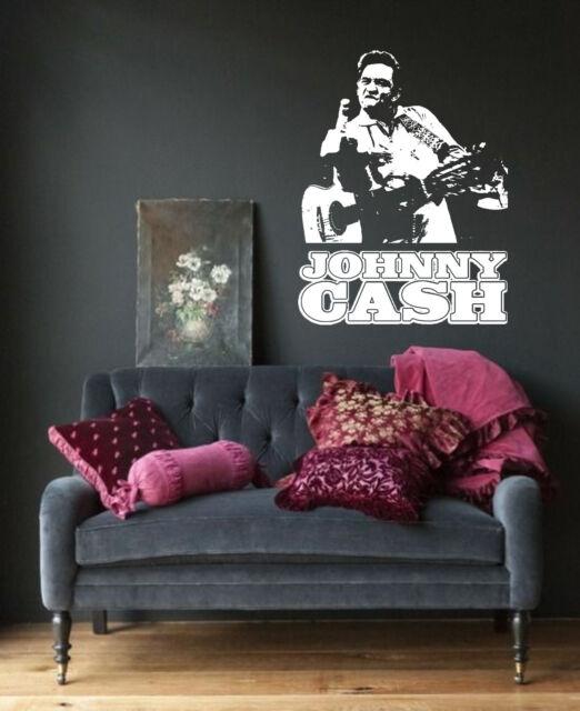 Johnny Cash Wall Art Sticker Country Music Decal Vinyl Mural WA574