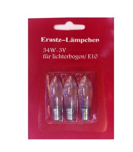 6 Ersatz Lichterbogen Schwibbogen ersatzlichterbogen Glühlampe warm weiss 34V