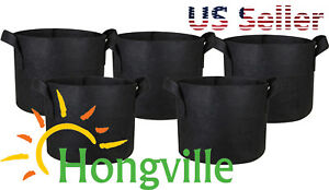 Hongville-5-Pack-Black-Grow-Bags-Aeration-Fabric-Pots-w-Handles-Root-Container