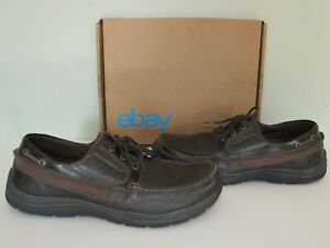 SKECHERS Relaxed FIT Brown Leather MEMORY FOAM Loafer Comfort Shoes Mens size 13