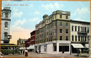 1910-Elgin-IL-Postcard-039-Hubbard-Block-039-Illinois-Ill