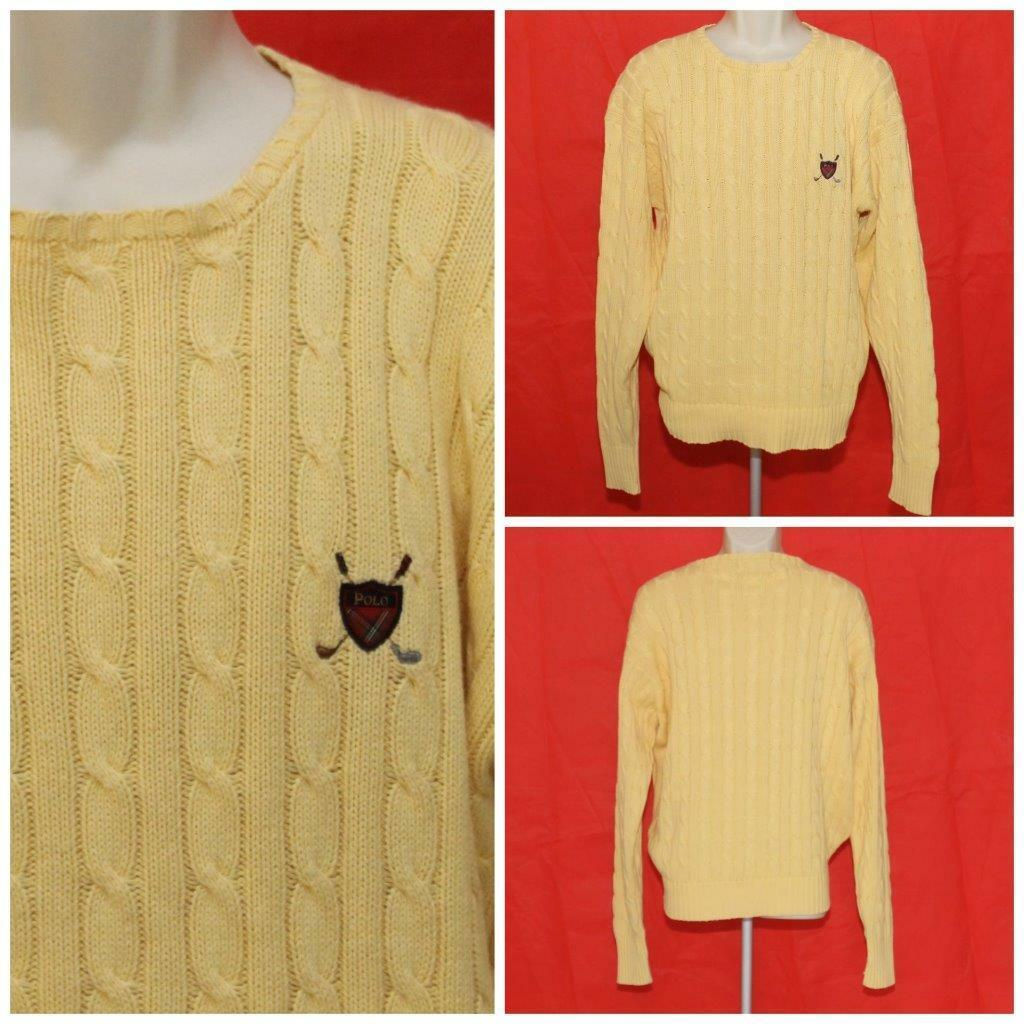 POLO Ralph Lauren Mens Large Yellow Cableknit Long Sleeve 100% Cotton Sweater