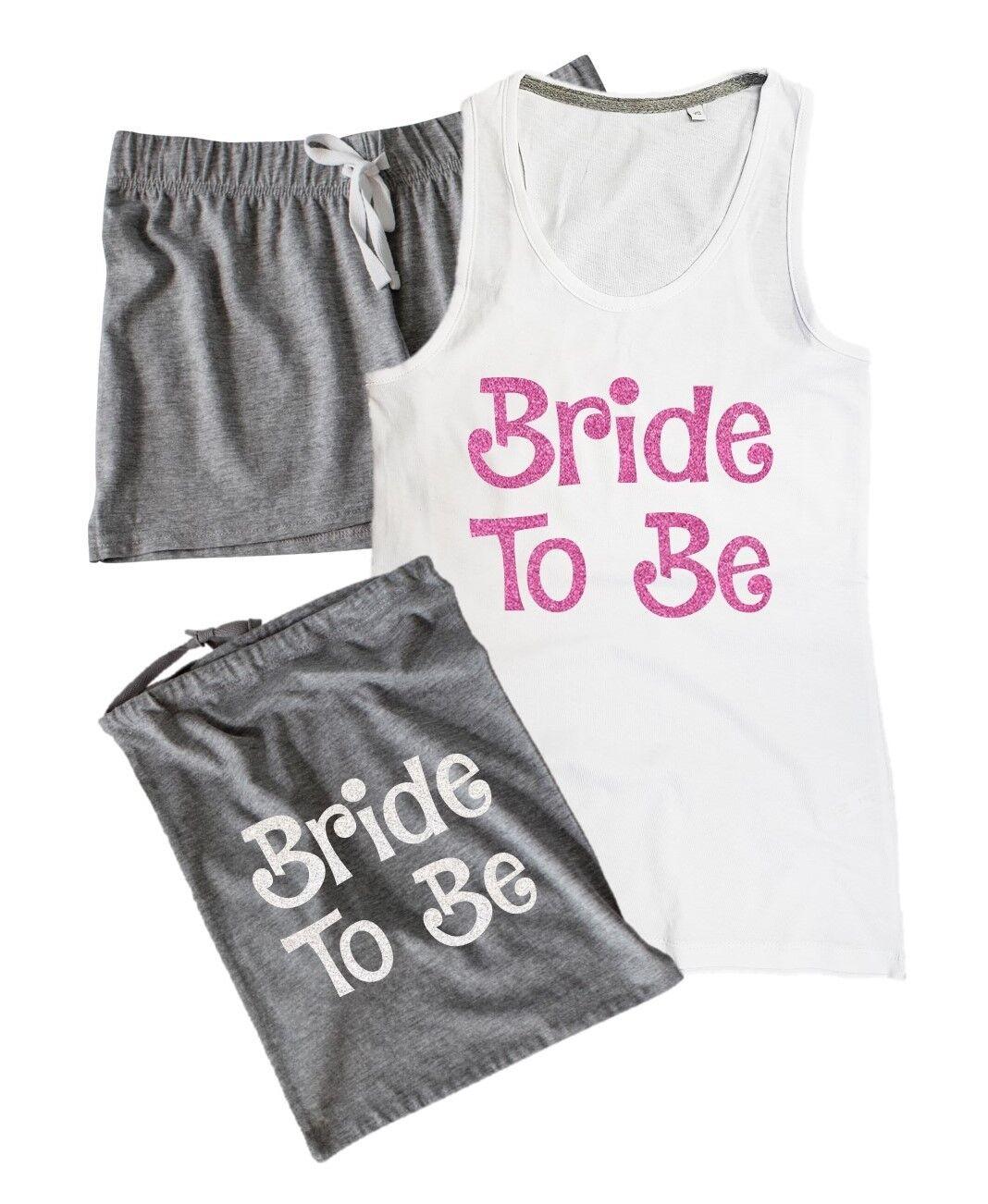 New Ladies Bride To Be Wedding Hen Night Pyjamas Vest /& Shorts