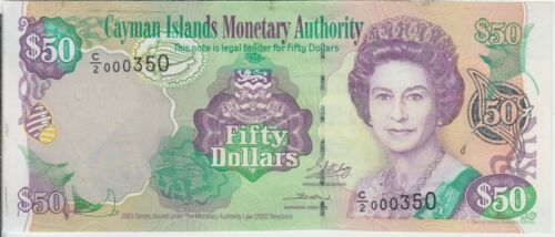 UNC Cayman Islands banknote P 32b 50 Dollars serie 2003 low serial nbr  QE II