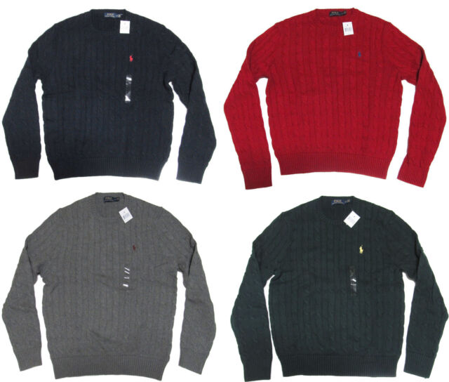 9ff2dbc39 Polo Ralph Lauren Mens RL Cable Knit Crew Neck Slim Ivy League Pony Logo  Sweater