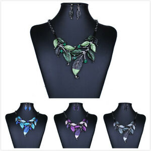 Fashion-Womens-Enamel-Leaf-Necklace-Set-Earrings-Crystal-Party-Punk-Jewelry-New