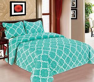 Galaxy-Bedspread-3-Piece-Quilt-Set-Soft-Quilted-Bedding-White-amp-Turquoise-NEW