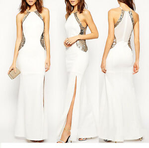 Women White Long Sequins Split Evening Party Formal Prom Bridesmaid Ball Dresses