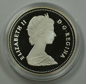 1987-Canada-500-Fine-Silver-Dollar-Proof-Coin-With-Case-and-COA