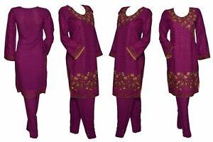 Indian-Pakistani-Shalwar-Kameez-Salwar-Saree-Suit-Dress-Wedding-Designer-Plum