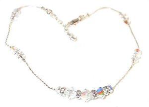 Fancy Swarovski Elements Crystal Ankle Bracelet Sterling Silver