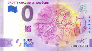 07 VALLON-PONT-D'ARC Grotte Chauvet 2, 2021, Anniversaire, Billet Euro Souvenir