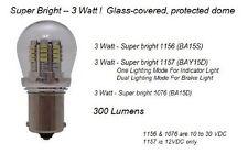 1076 LED Auto Bulb - Super Bright 3 WATT LED Bulb - Protective Shell - BA15D Bas