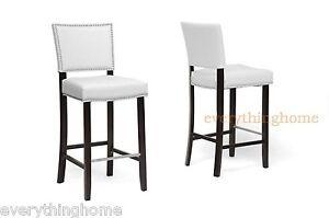 Set-of-2-Modern-White-Faux-Leather-Bar-Stools-Nail-Head-Trim-Wood-Frame-Designer