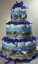 3 Tier Diaper Cake - Light Blue/Silver Chevron - Boy Baby Shower Centerpiece