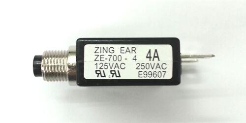 Neuf 4 Amp bouton-poussoir Disjoncteur ~ Zing Ear ZE-700-4 4 A