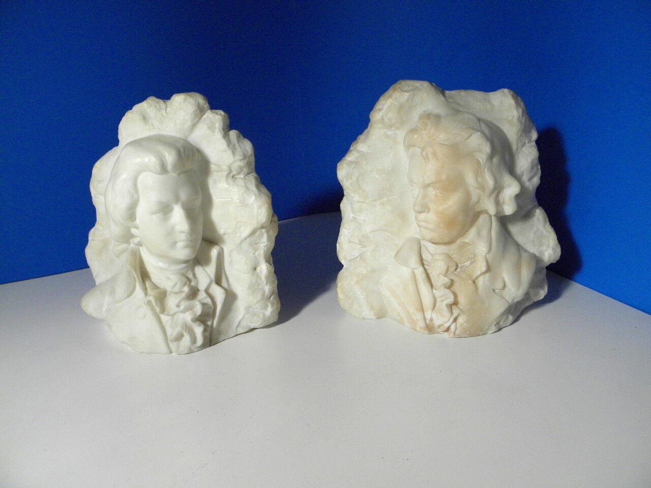 Mozart & Beethoven - antike Alabaster Büsten - Kochendörfer - Buchstützen