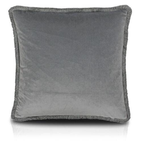 """Elegant Traditional Fringed Soft Velvet Scatter Filled Cushion Cover 17/""""x17/"""""""
