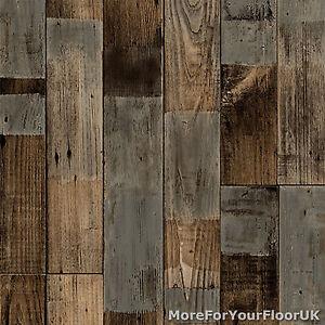 Brown Reclaimed Wood Plank Vinyl Flooring Kitchen Bathroom