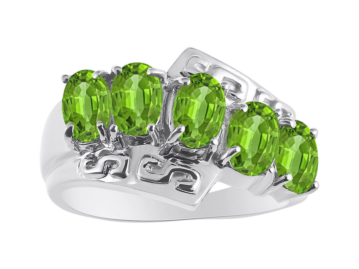5 Stone  Oval Shape Peridot Ring Set In 14K White gold - color Stone Birthstone