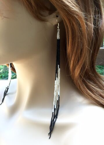 Details about  /NATIVE STYLE HANDCRAFTED BLACK SILVER LONG STATEMENT HOOK EARRINGS 8 INCH 53//31