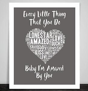 Lonestar Amazed Music Love Song Lyrics Heart Framed Art Print Wedding Gift Ebay