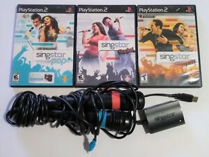 PS2 Playstation 2 SingStar Bundle 3 Games 2 Microphones 1 Converter Rocks Amped